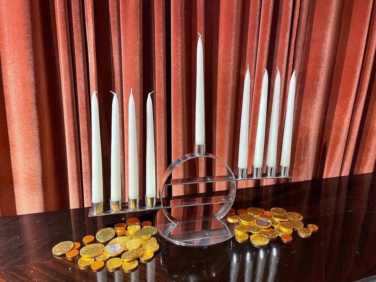 Maison Desny Rare Silver Modernist Menorah French Art Deco For Sale 3