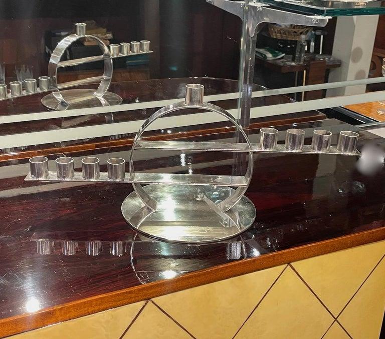 Maison Desny Rare Silver Modernist Menorah French Art Deco For Sale 4