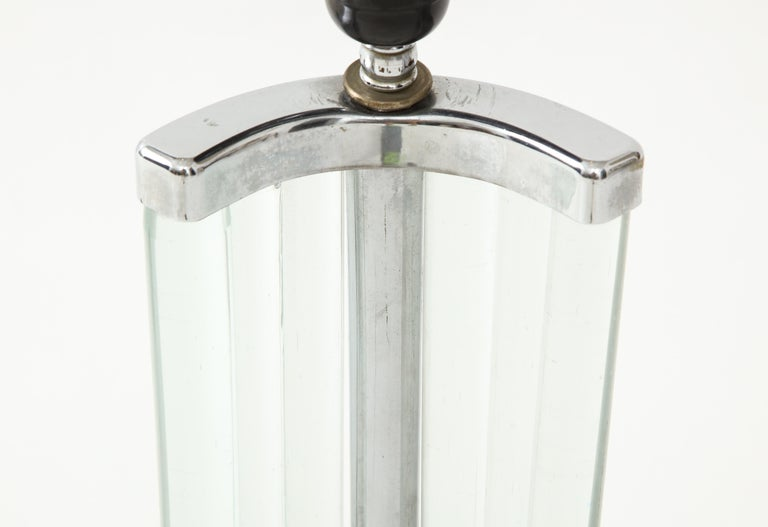 Mid-20th Century Maison Dominique French Art Deco Nickel and Glass Lamp, France, circa 1935 For Sale