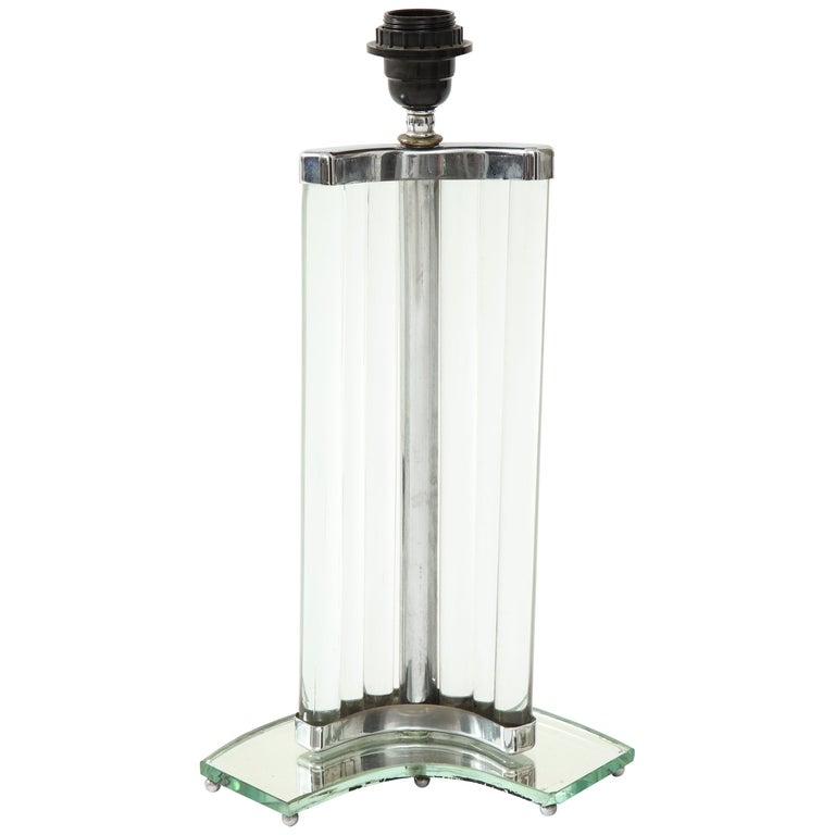 Maison Dominique French Art Deco Nickel and Glass Lamp, France, circa 1935 For Sale