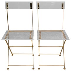 Maison et Jardin Set of 2 Vintage Lucite Folding Chairs, 1980
