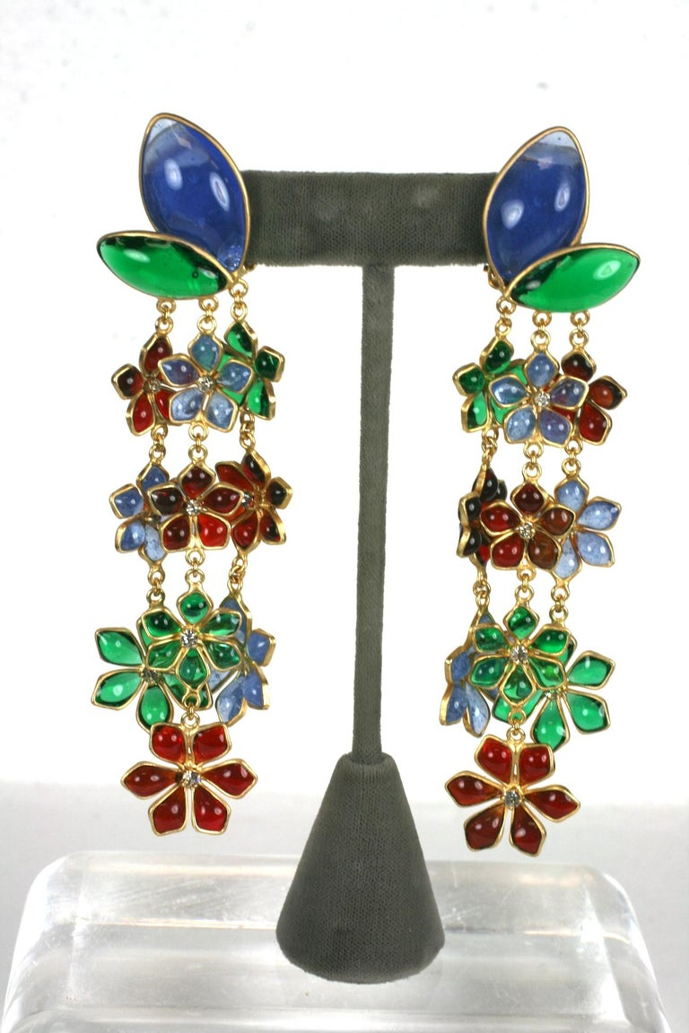 Anglo-Indian  Maison Gripoix Anglo Indian Floral Cascade Earclips For Sale