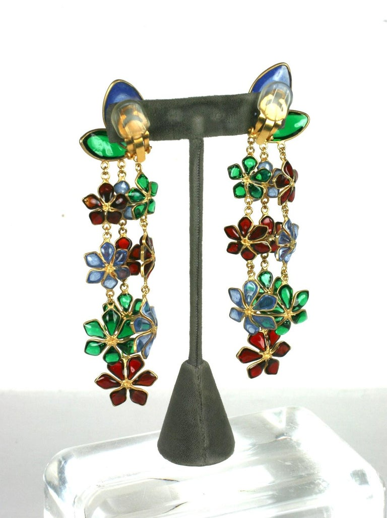 Women's  Maison Gripoix Anglo Indian Floral Cascade Earclips For Sale