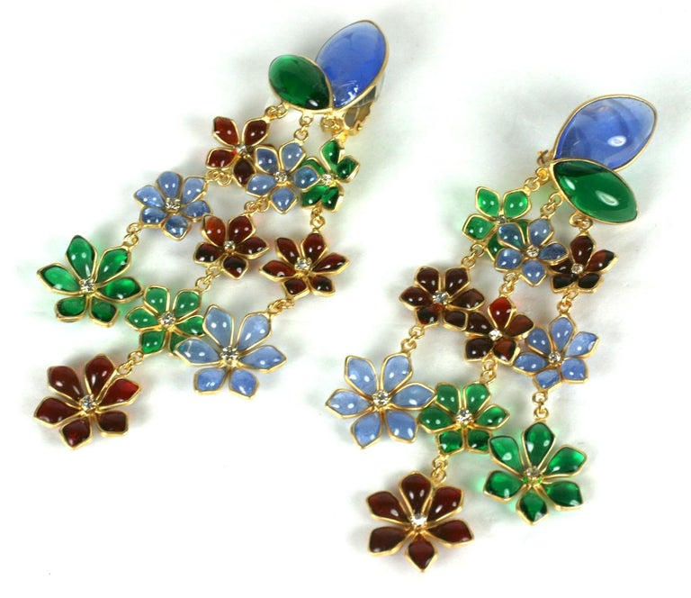 Maison Gripoix Anglo Indian Floral Cascade Earclips For Sale 1