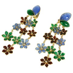 Maison Gripoix Anglo Indian Floral Cascade Earclips