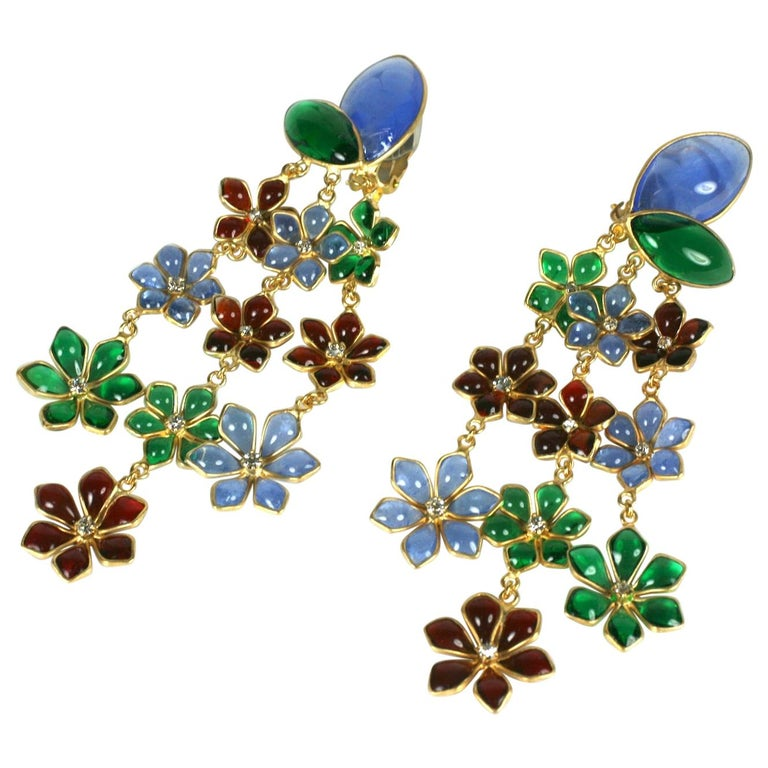 Maison Gripoix Anglo Indian Floral Cascade Earclips For Sale