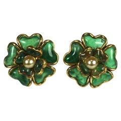 Maison Gripoix Chanel Emerald Camelia Ear Clips