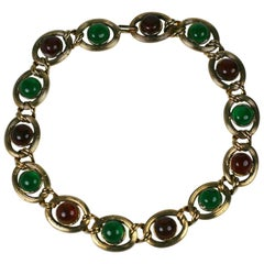 Maison Gripoix for Chanel Amythest, Ruby, Emerald Poured Glass Chain Necklace