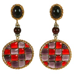 Maison Gripoix for Chanel  Checkered Tweed Patterned Earclips