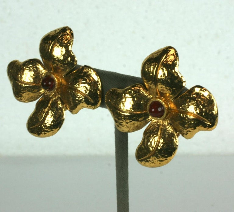 Attractive Maison Gripoix Chanel hammered gilt and ruby paste bead flower earrings with clip back fittings.  1980's France. 1.75