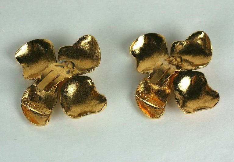 Women's Maison Gripoix for Chanel Hammered Flower Earrings For Sale