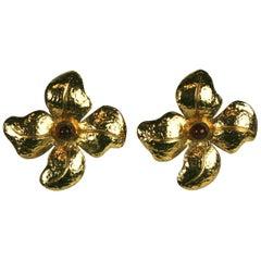 Maison Gripoix for Chanel Hammered Flower Earrings