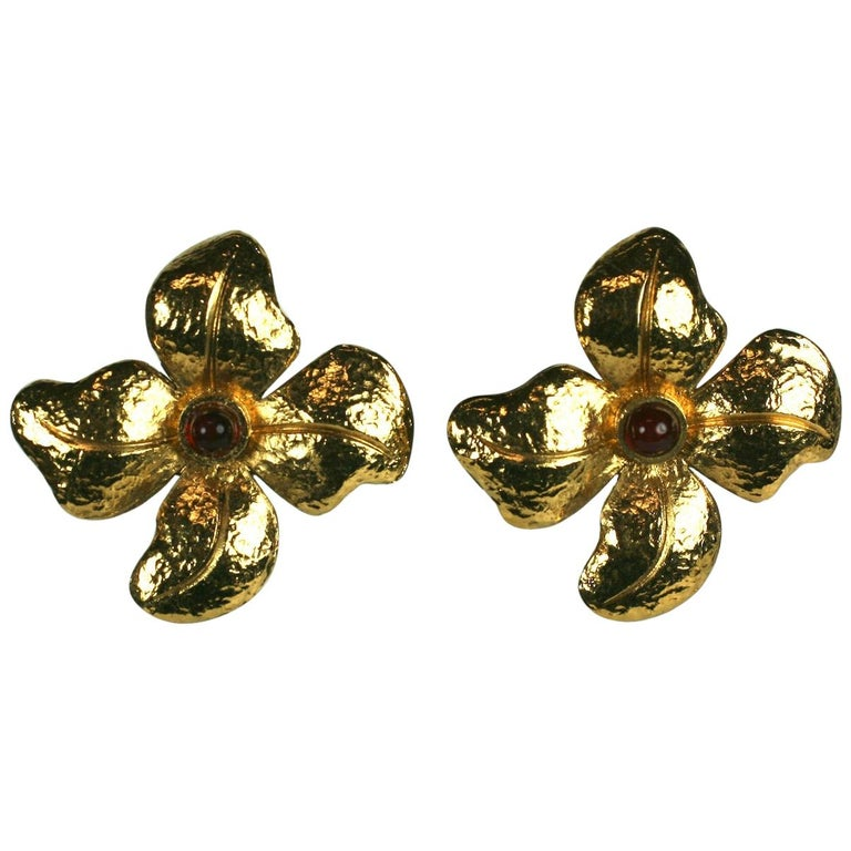 Maison Gripoix for Chanel Hammered Flower Earrings For Sale