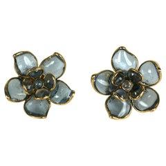 Maison Gripoix for Chanel Pale Sapphire Camellia Romantic Earclips