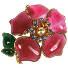 Maison Gripoix for CoCo Chanel Early Camellia Brooch