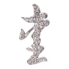 Ai, 18 Karat White Gold, Diamonds Brooch