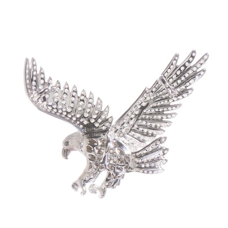 Round Cut Dive, 18 Karat White Gold, Sapphire, Diamond Brooch For Sale