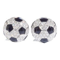 Football, 18 Karat White Gold, Onyx, Diamonds Cufflinks