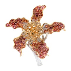 Full Bloom, 18 Karat Yellow and White Gold, Spinel, Diamonds Brooch