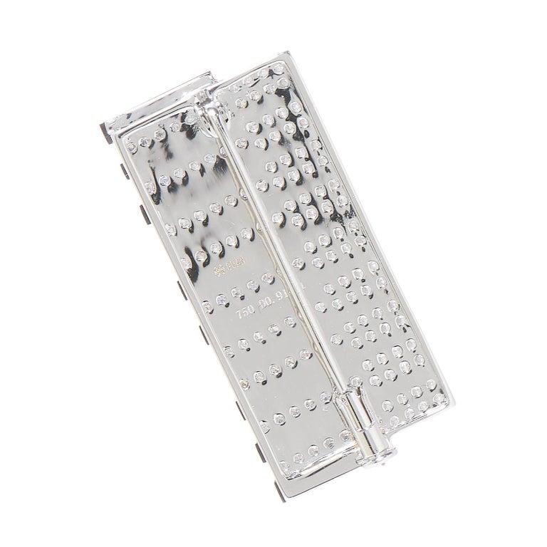 Round Cut Keyboard, 18 Karat White Gold, Enamel, Diamonds Brooch For Sale