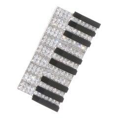 Keyboard, 18 Karat White Gold, Enamel, Diamonds Brooch