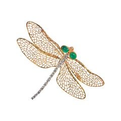 Light Wings, 18 Karat Yellow and White Gold, Emeralds and Diamonds Brooch