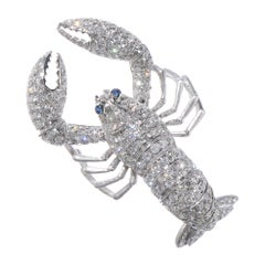Lobster, 18 Karat White Gold, Sapphire, Diamonds Pendant