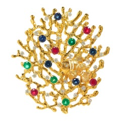 Ocean, 18 Karat Gold, Ruby, Sapphire, Emerald, Diamonds Brooch