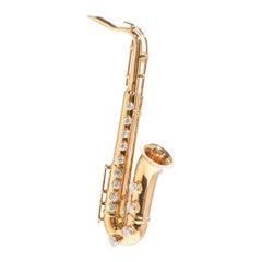 Saxophone, 18 Karat Yellow Gold, Diamonds Brooch
