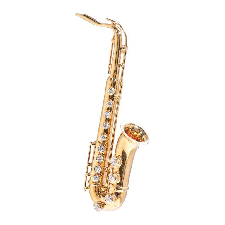 Saxophone, 18 Karat Yellow Gold, Diamonds Brooch For Sale