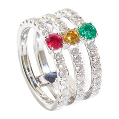 Traffic Lights, 18 Karat Gold, Ruby, Emerald, Yellow Diamonds Ring
