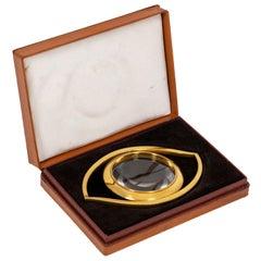 "Maison Hermès, ""Eye"" Desktop Magnifying Glass in Gilt Brass, 1960s"