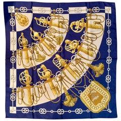 Maison Hermes Paris Vintage Silk Blue Cliquetis Scarf 90 by Julia Abadie, 1972