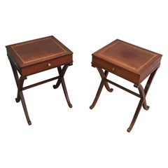 Maison Hirch, Pair of Mahogany and Brass Side Tables, French, circa 1940