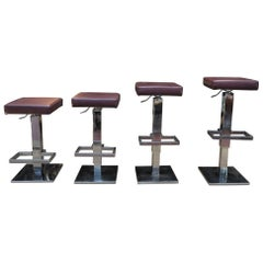 Maison Jansen 4 Bar Stools Burgundy Leather and Chrome Metal, circa 1970