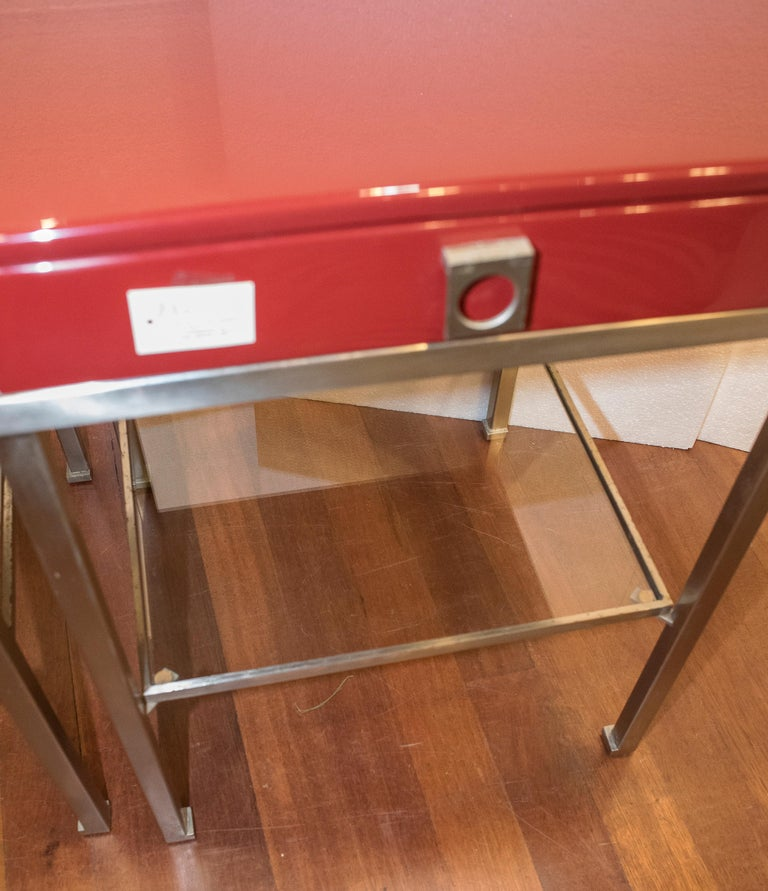 Maison Jansen 1970s Red and Brown Lacquered and Steel End Tables For Sale 3