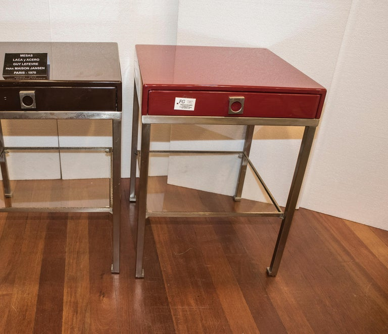 Maison Jansen 1970s Red and Brown Lacquered and Steel End Tables For Sale 5