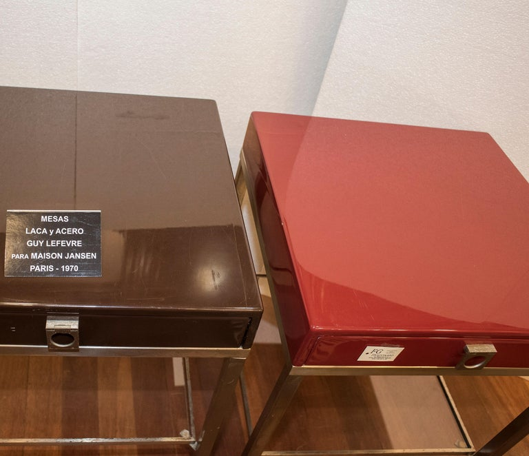 Maison Jansen 1970s Red and Brown Lacquered and Steel End Tables For Sale 6