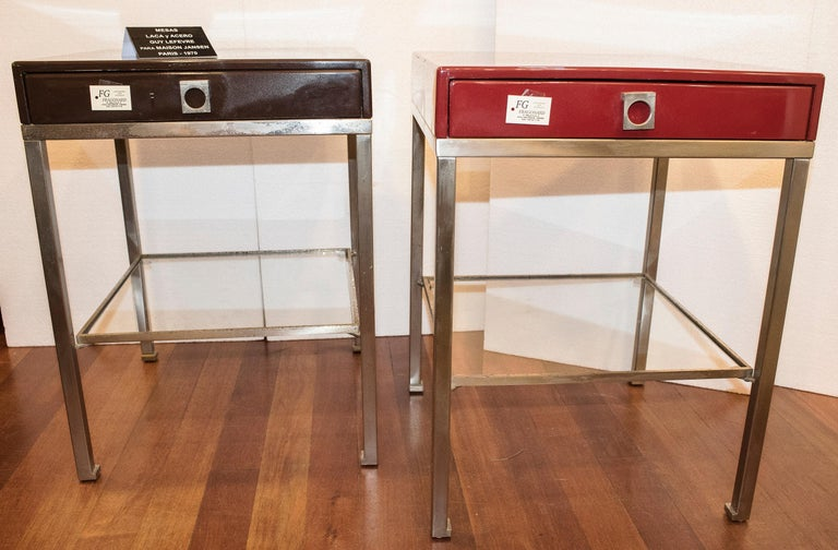 French Maison Jansen 1970s Red and Brown Lacquered and Steel End Tables For Sale