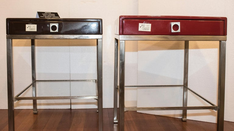 Hand-Crafted Maison Jansen 1970s Red and Brown Lacquered and Steel End Tables For Sale