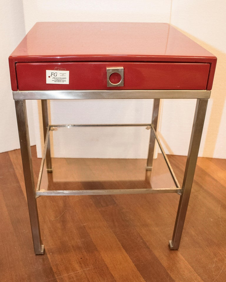 Maison Jansen 1970s Red and Brown Lacquered and Steel End Tables For Sale 1