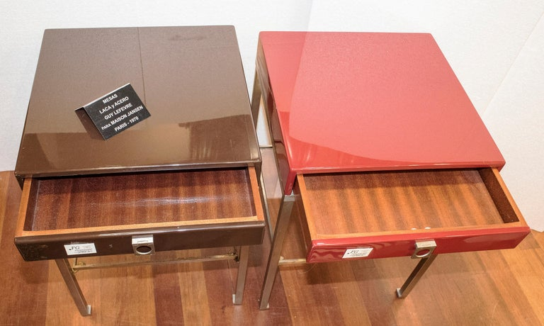 Maison Jansen 1970s Red and Brown Lacquered and Steel End Tables For Sale 2