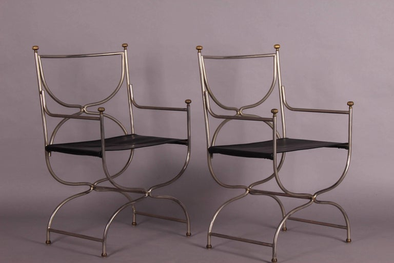 Stainless Steel Maison Jansen Armchairs Pair For Sale