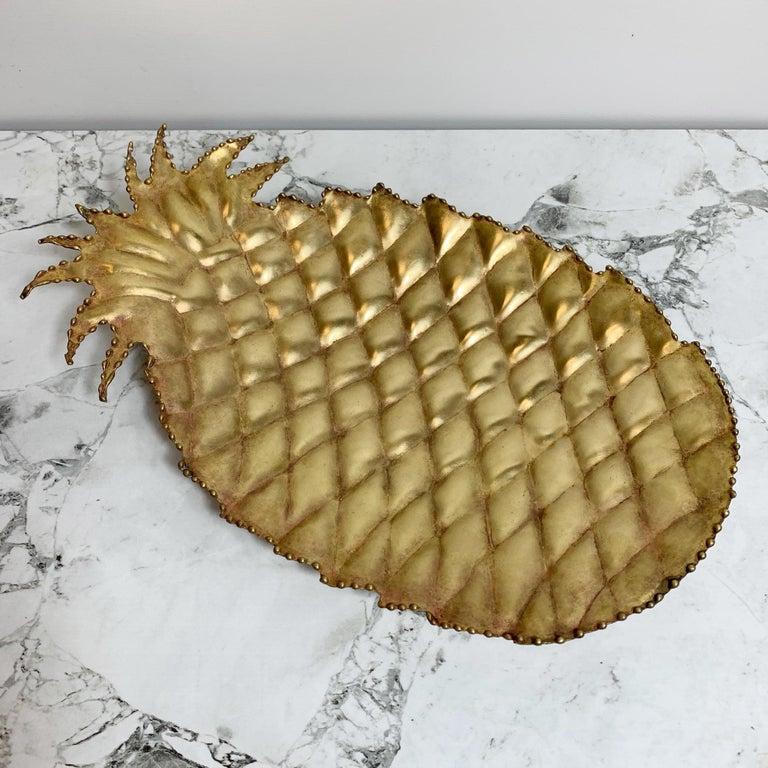 Mid-Century Modern Maison Jansen Attributed Brass Pineapple Dish, 1970s For Sale