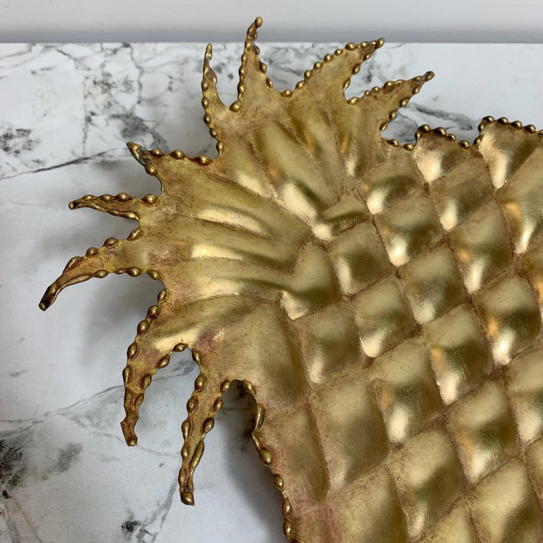 French Maison Jansen Attributed Brass Pineapple Dish, 1970s For Sale