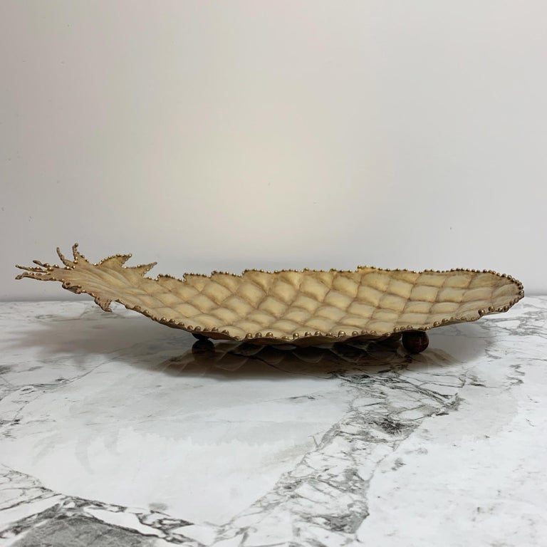 Maison Jansen Attributed Brass Pineapple Dish, 1970s In Good Condition For Sale In Hastings, GB