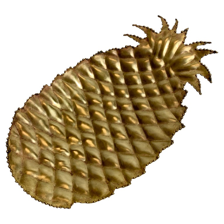 Maison Jansen Attributed Brass Pineapple Dish, 1970s For Sale