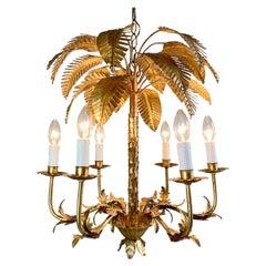 Maison Jansen Att. Gilt Leaf Palm Tree Chandelier