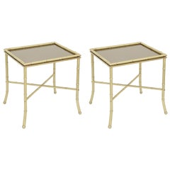 Maison Jansen Attributed Brass Side Tables