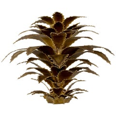 Maison Jansen Attributed Gilt Metal Sconce with Torch Cut Leaves